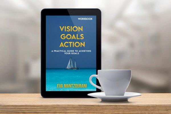 e-reader showing vision goals action workbook